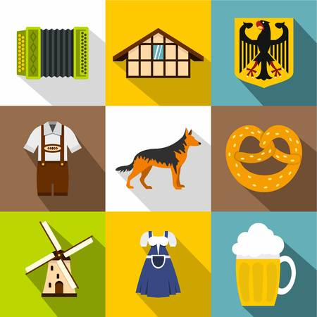 european culture: Country Germany icons set, flat style