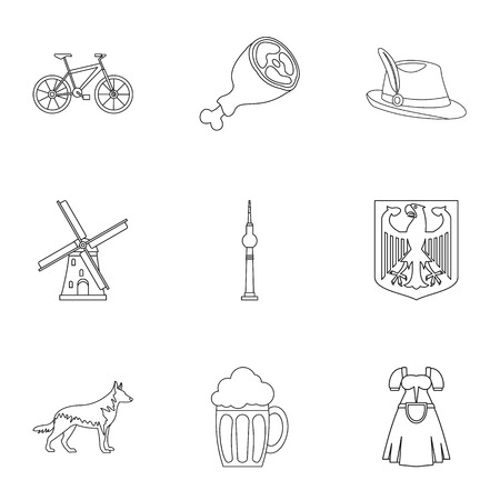 nationality: Travel to Germany icons set, outline style
