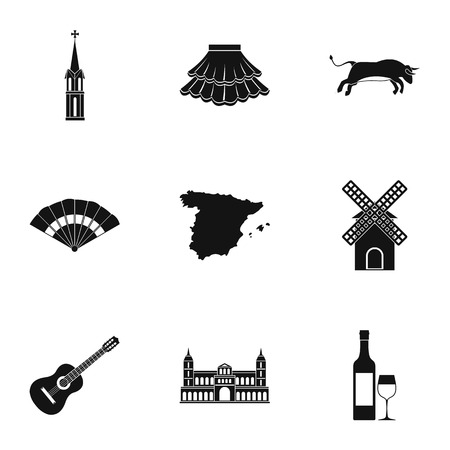 have fun: Spain icons set, simple style