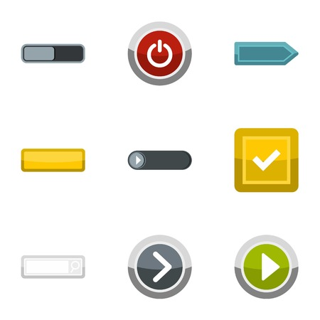 disagree: Different buttons icons set, flat style Illustration