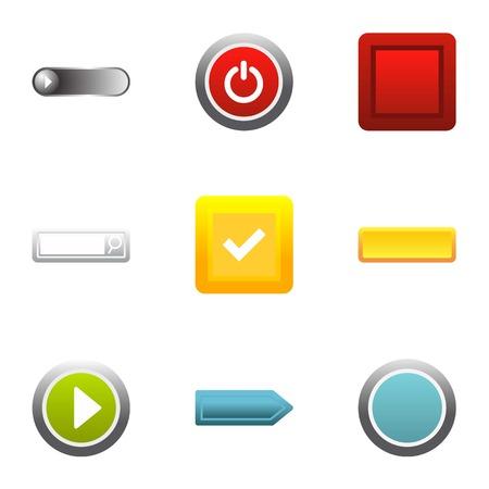 Button icons set, flat style Illustration