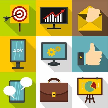 contextual: Contextual advertising icons set, flat style