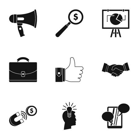 contextual: Contextual advertising icons set, simple style Illustration