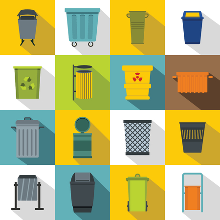 trashing: Garbage container icons set, flat style