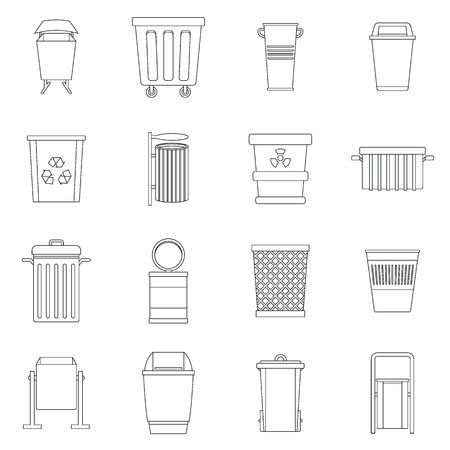 garbage container: Garbage container icons set, outline style Illustration