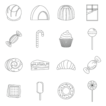 chocolate swirl: Sweets and candies icons set, outline style Illustration