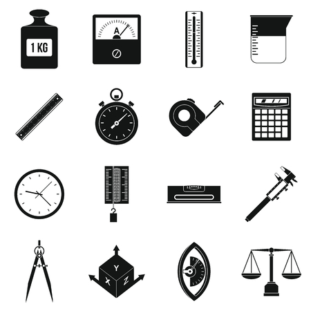 precision: Measure precision icons set, simple style