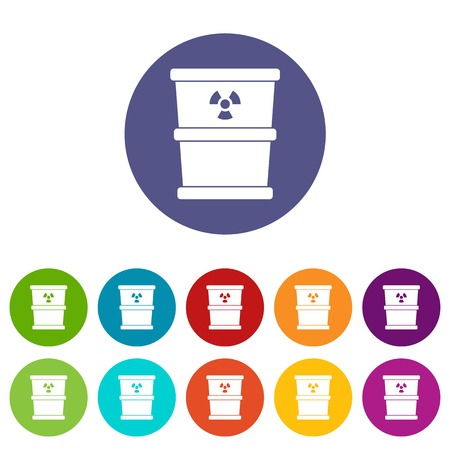 Trash can set icons in different colors isolated on white background