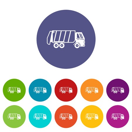 Garbage truck set icons in different colors isolated on white background