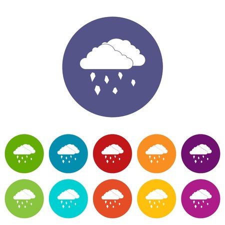 Wolken en hagel set iconen in verschillende kleuren geïsoleerd op een witte achtergrond
