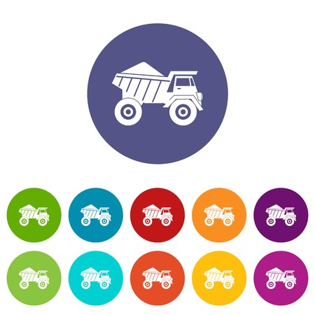 quarry: Dump truck with sand set icons in different colors isolated on white background