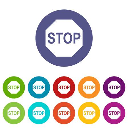 motorist: Stop sign set icons in different colors isolated on white background