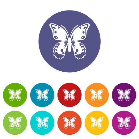 Butterfly set icons in different colors isolated on white background