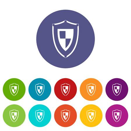 Shield set icons in different colors isolated on white background