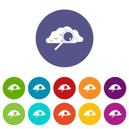 Cloud with magnifying glass set icons in different colors isolated on white background Illustration