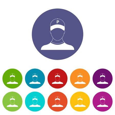 Parking attendant set icons in different colors isolated on white background