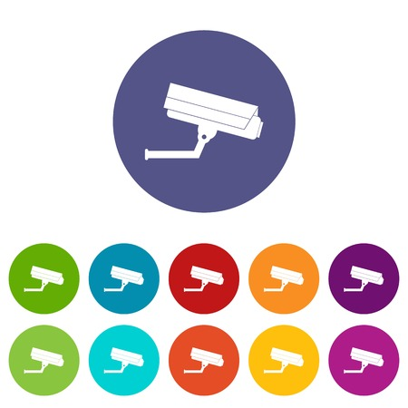 Surveillance camera set icons in different colors isolated on white background