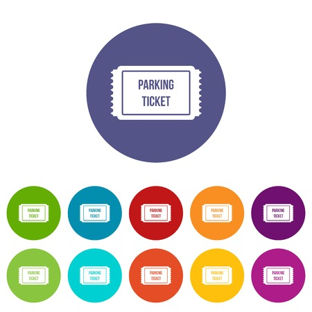 Parking ticket set icons in different colors isolated on white background Illustration