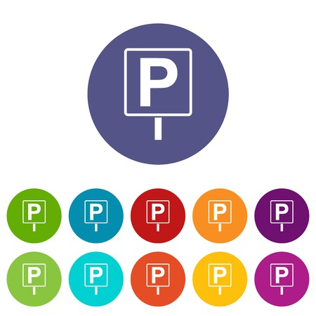 Parking sign set icons in different colors isolated on white background Illustration