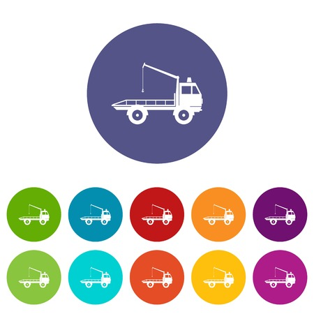 the wrecker: Car towing truck set icons in different colors isolated on white background