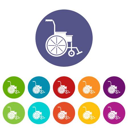 Wheelchair set icons in different colors isolated on white background