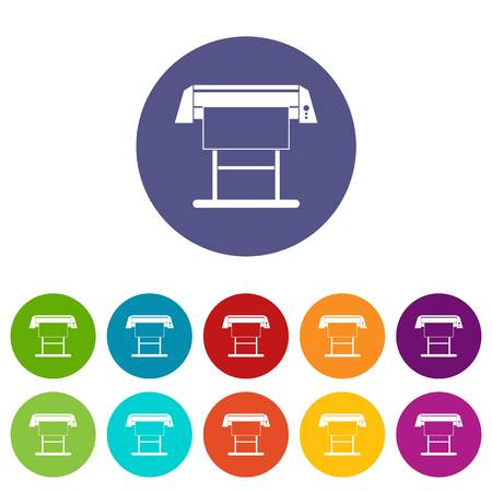 plotting: Large format inkjet printer set icons in different colors isolated on white background Illustration