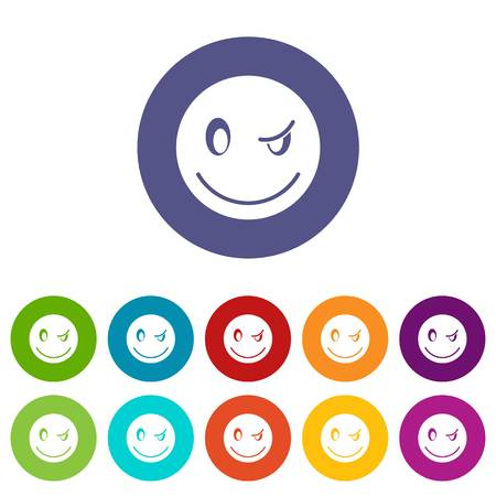 Eyewink emoticon set icons in different colors isolated on white background