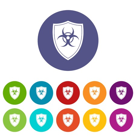 Shield with a biohazard sign set icons in different colors isolated on white background