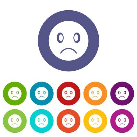Sad emoticon set icons in different colors isolated on white background