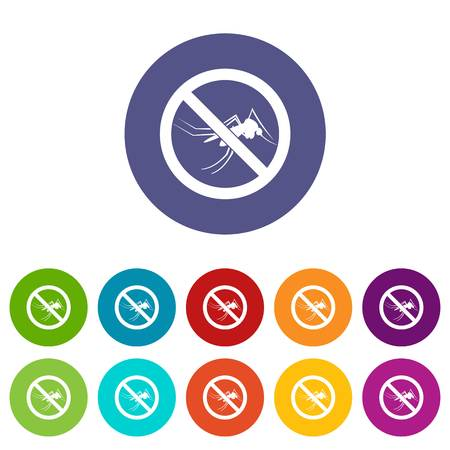 itch: No mosquito sign set icons in different colors isolated on white background