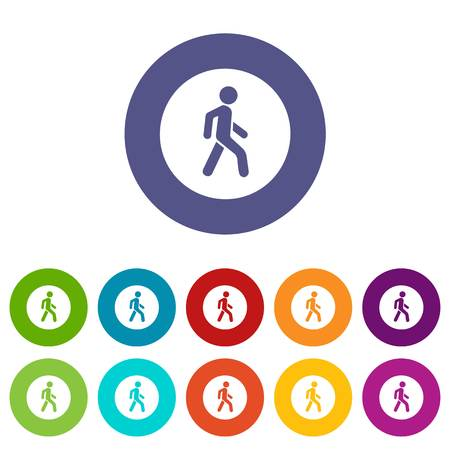 Pedestrians only road sign set icons Illustration