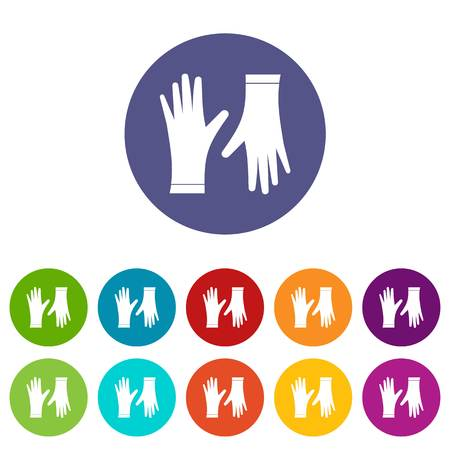 Protective gloves set icons