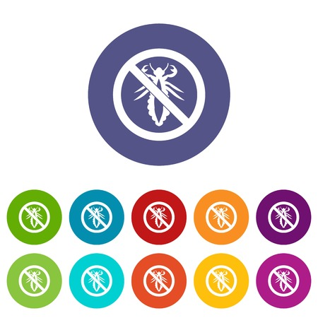 itch: No louse sign set icons Illustration