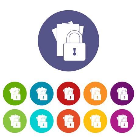 Folders with padlock set icons Illustration