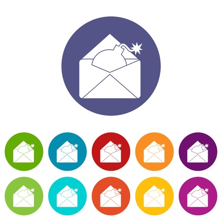 email bomb: Envelope with bomb set icons in different colors isolated on white background