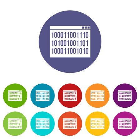 Binary code set icons