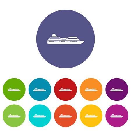 cruise liner: Cruise liner set icons Illustration