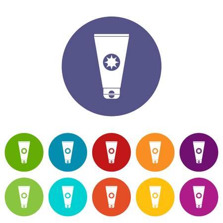 to sunbathe: Tube with sunbathing cream set icons