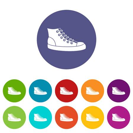 Sneakers set icons Illustration