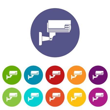 crime prevention: Surveillance camera set icons