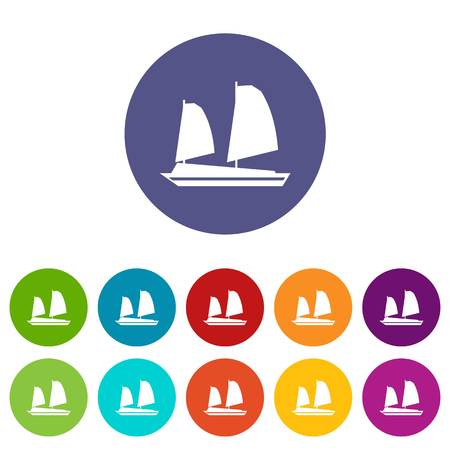 junk boat: Vietnamese junk boat set icons Illustration