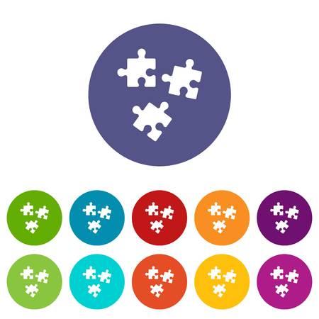 Puzzle set icons Illustration