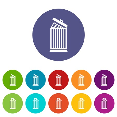 Resume thrown away in the trash can set icons Illustration