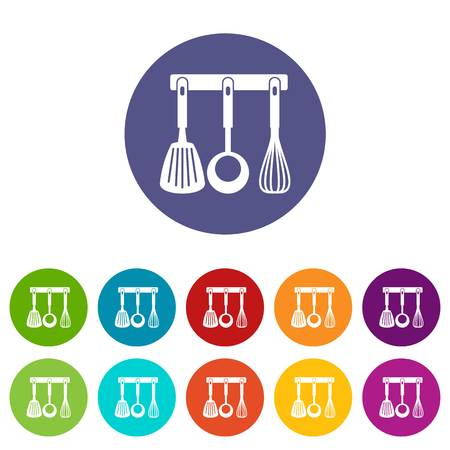 Spatula, ladle and whisk, kitchen tools set icons