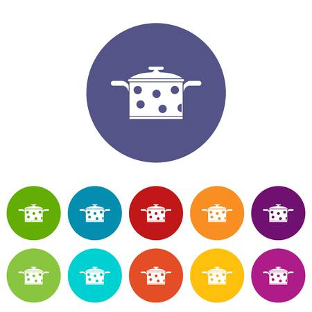 Saucepan with white dots set icons Illustration