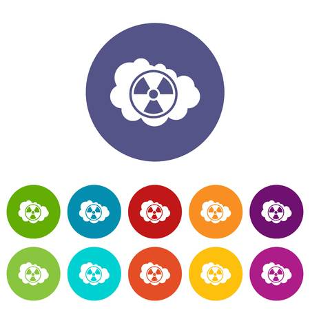 Cloud and radioactive sign set icons