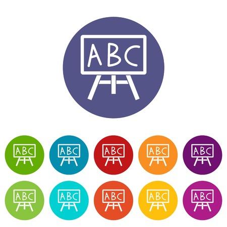 Bord met de leters ABC vastgestelde pictogrammen Vector Illustratie