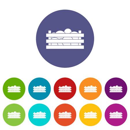 wooden crate: Watermelons in wooden crate set icons
