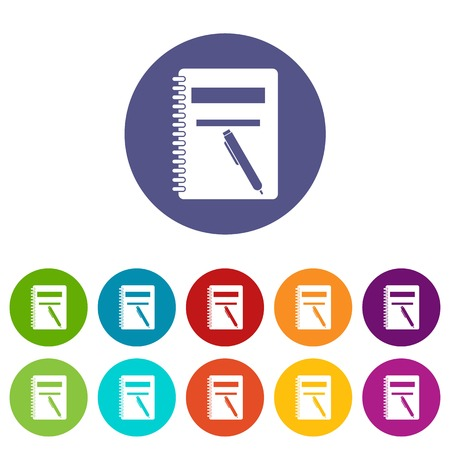 Closed spiral notebook and pen set icons