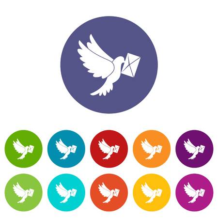 carrier pigeons: Dove carrying envelope set icons